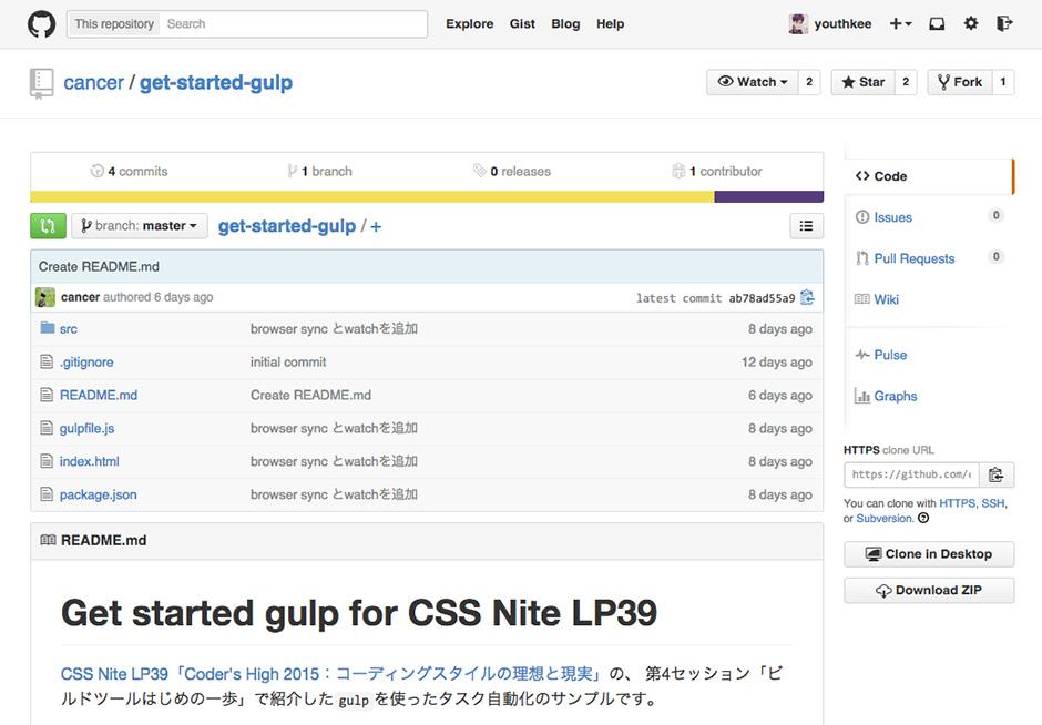 gulpのタスク自動化サンプル