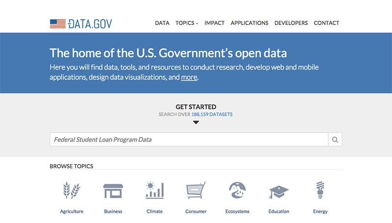 Data.govというポータルサイトでは、10万件以上の公共データが公開されています。