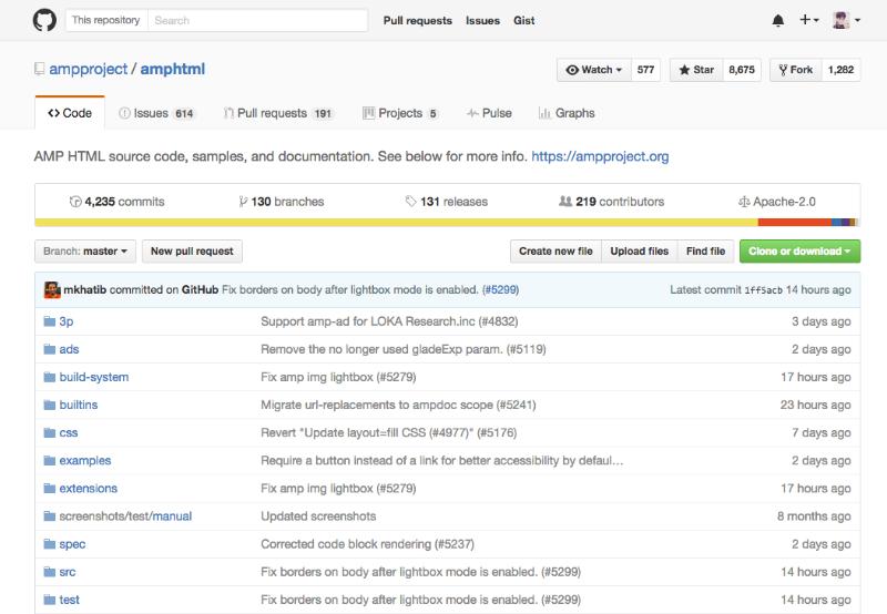 AMPプロジェクトのGitHubリポジトリ。